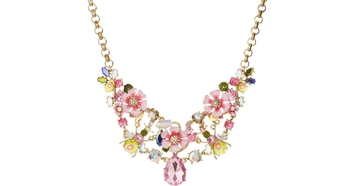 Lyst Betsey Johnson Spring Glam Pink Flower Frontal Necklace In Pink