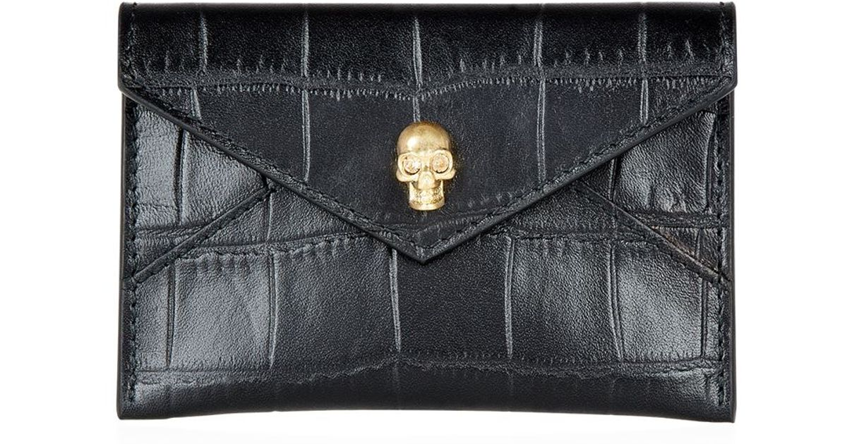 Black Croc Card Holder Alexander McQueen IiFL7