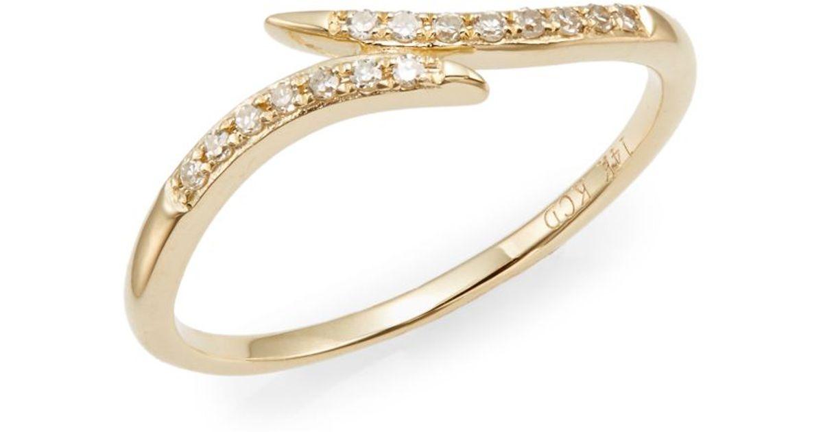 Lyst - Kc Designs Brilliant Diamond & 14k Yellow Gold Midi Wrap ...
