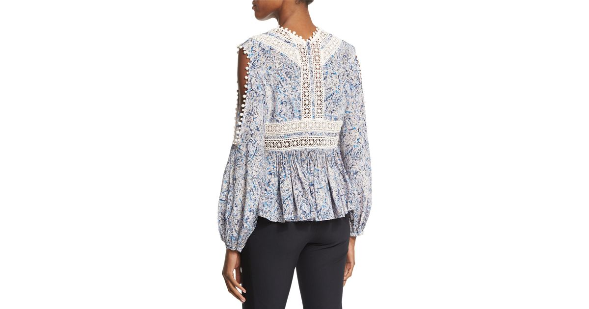 90696d5bd19c9a Lyst - Rebecca Taylor Long-sleeve Paisley Cold-shoulder Top in Blue