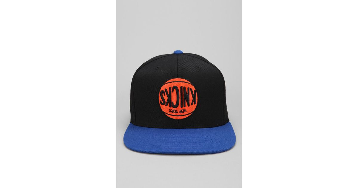 46c7a8c246de6 Lyst - Hall of Fame X Mitchell Ness Knicks Upsidedown Snapback Hat in Blue  for Men