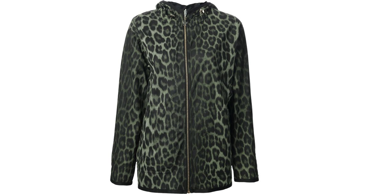 6f61400db02c Moncler Gamme Rouge Leopard Print Jacket in Green - Lyst