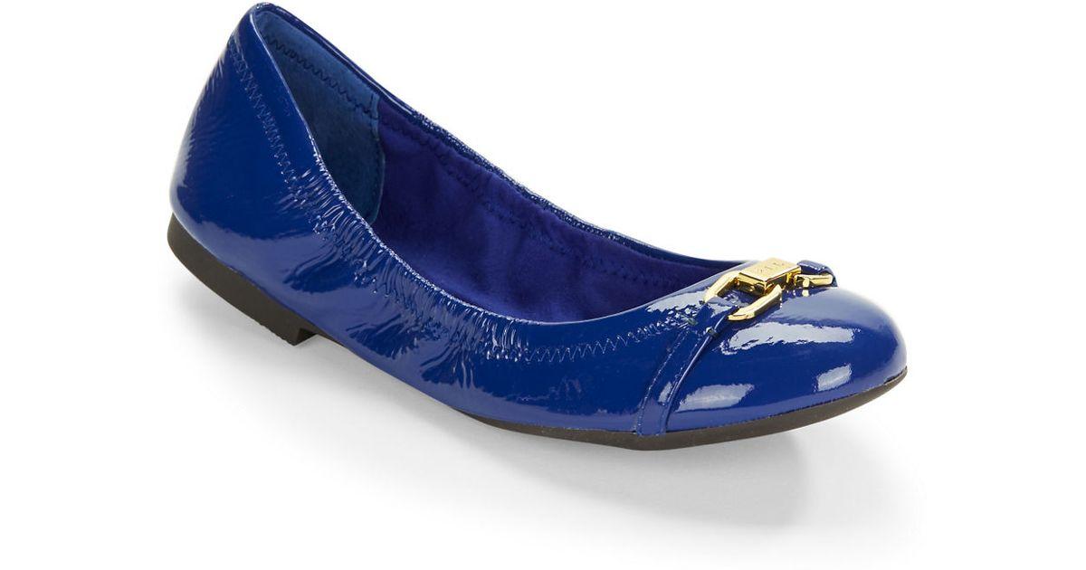 lauren by ralph lauren betsy patent leather ballet flats in blue lyst. Black Bedroom Furniture Sets. Home Design Ideas