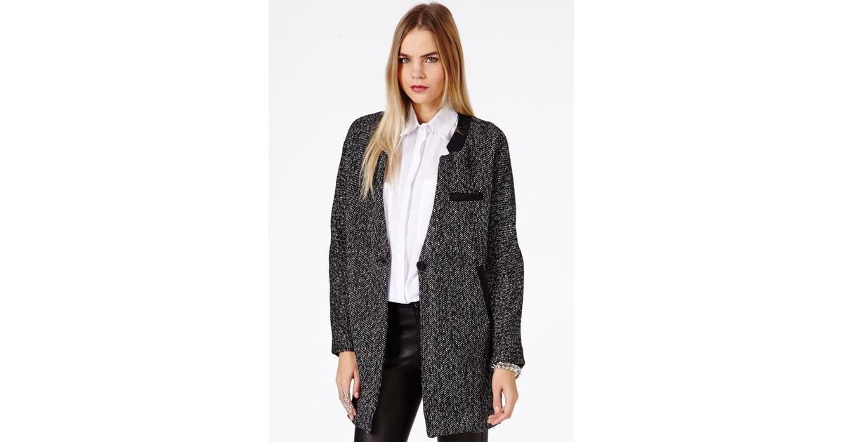 Missguided Petera Tweed Boyfriend Coat with Faux Leather Trim in
