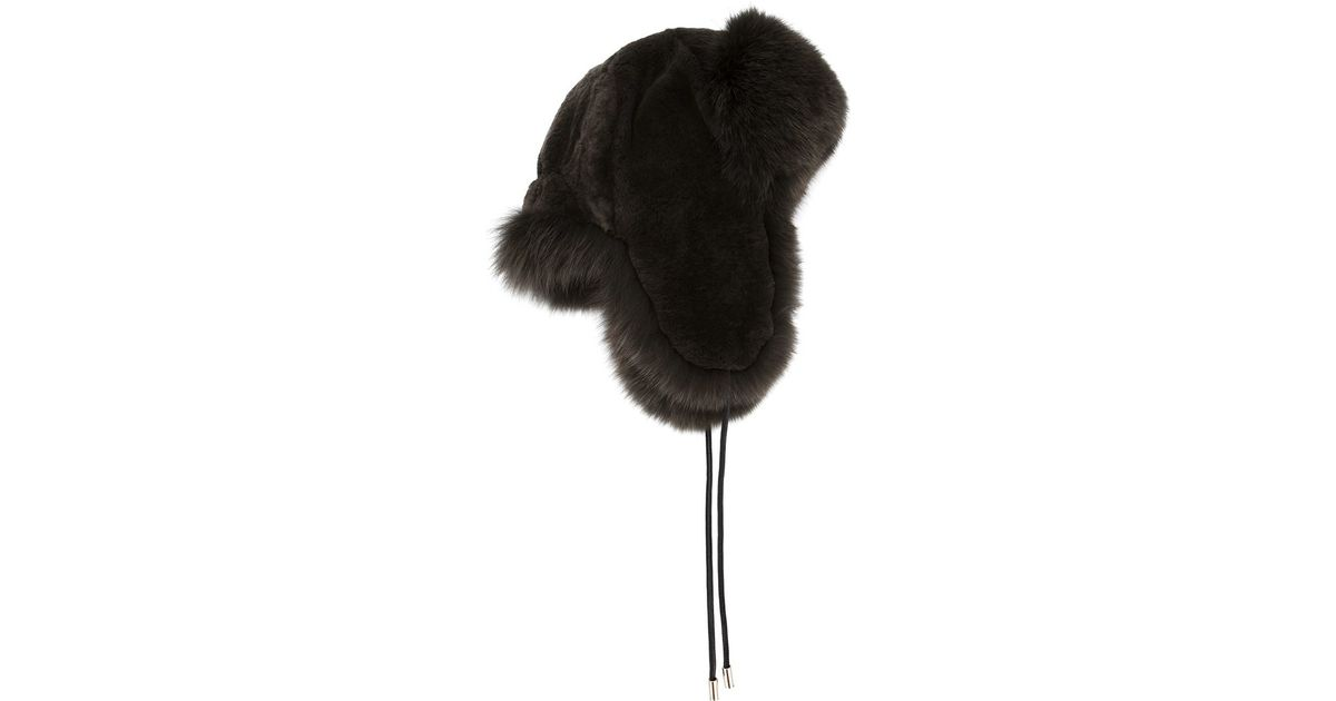 2b94359fb4e Lyst - Yves Salomon Fox And Rabbit Fur Trapper Hat in Green