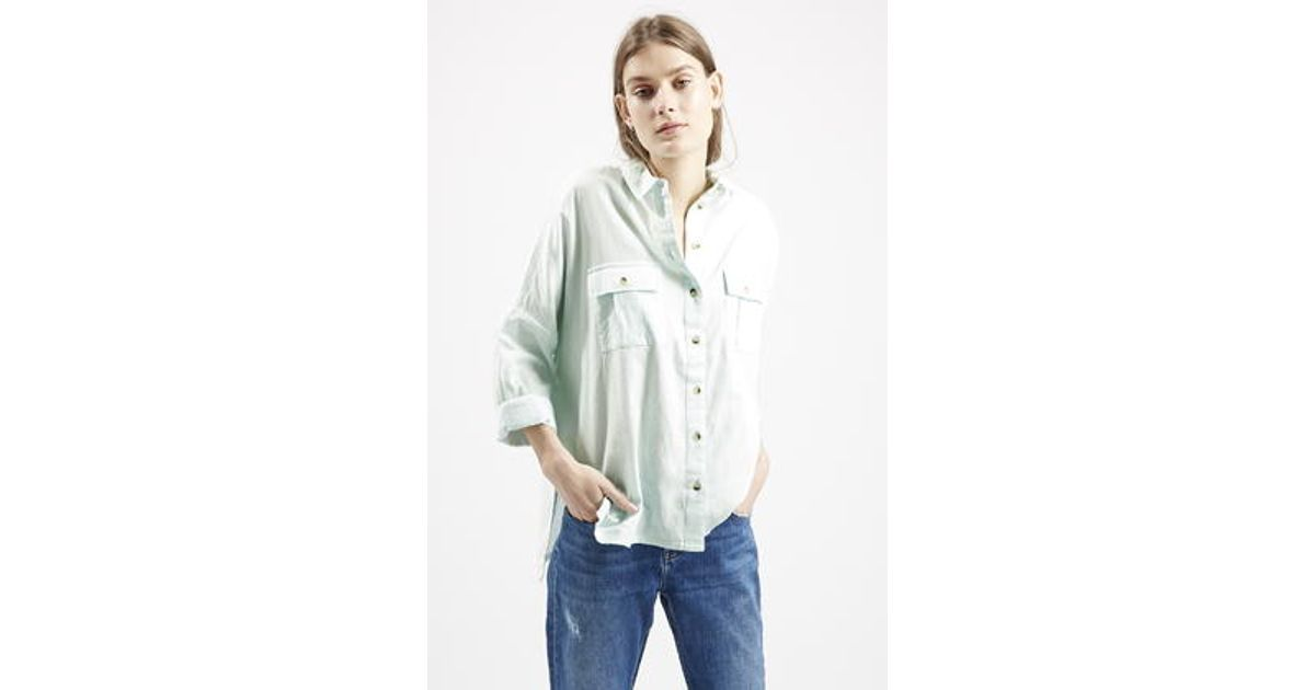 8bdebef6ebf TOPSHOP Oversized Chambray Shirt in Blue - Lyst