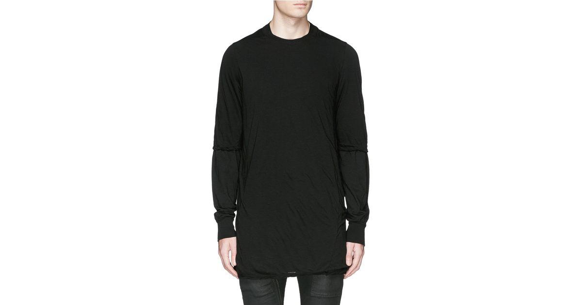 Lyst - Drkshdw By Rick Owens 'hustler' Double Layer Long Sleeve T-shirt in  Black for Men
