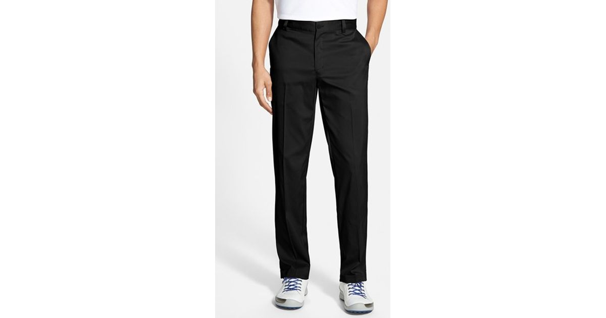 Lyst nike flat front dri fit tech golf pants in white for Big tall nike golf shirts
