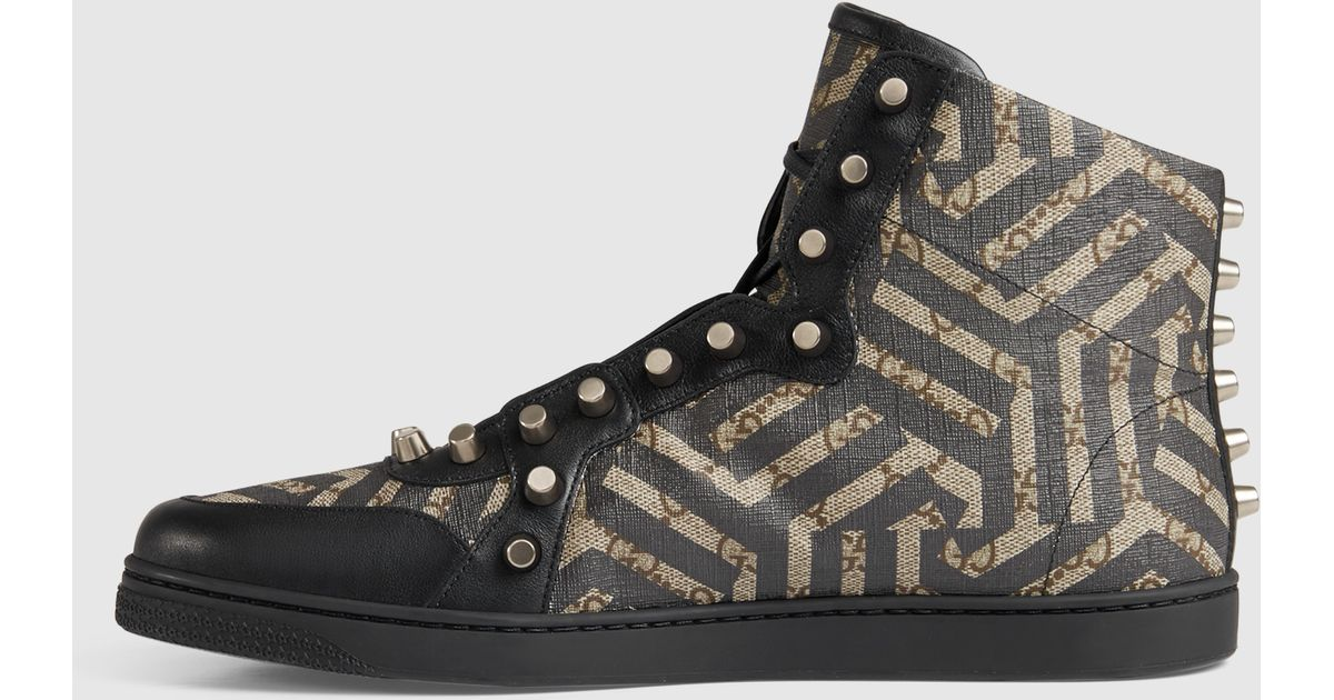 a9ba679ff94 Lyst - Gucci Gg Caleido High-top Sneaker in Black for Men