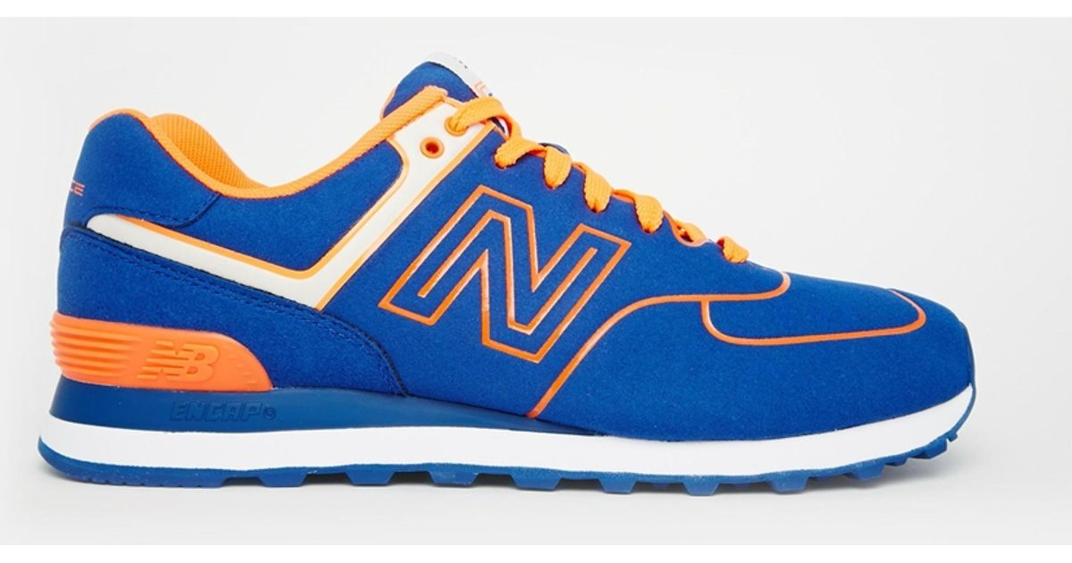 Lyst - New Balance 574 Neon Pack Sneakers in Blue for Men 5d0298fc6d