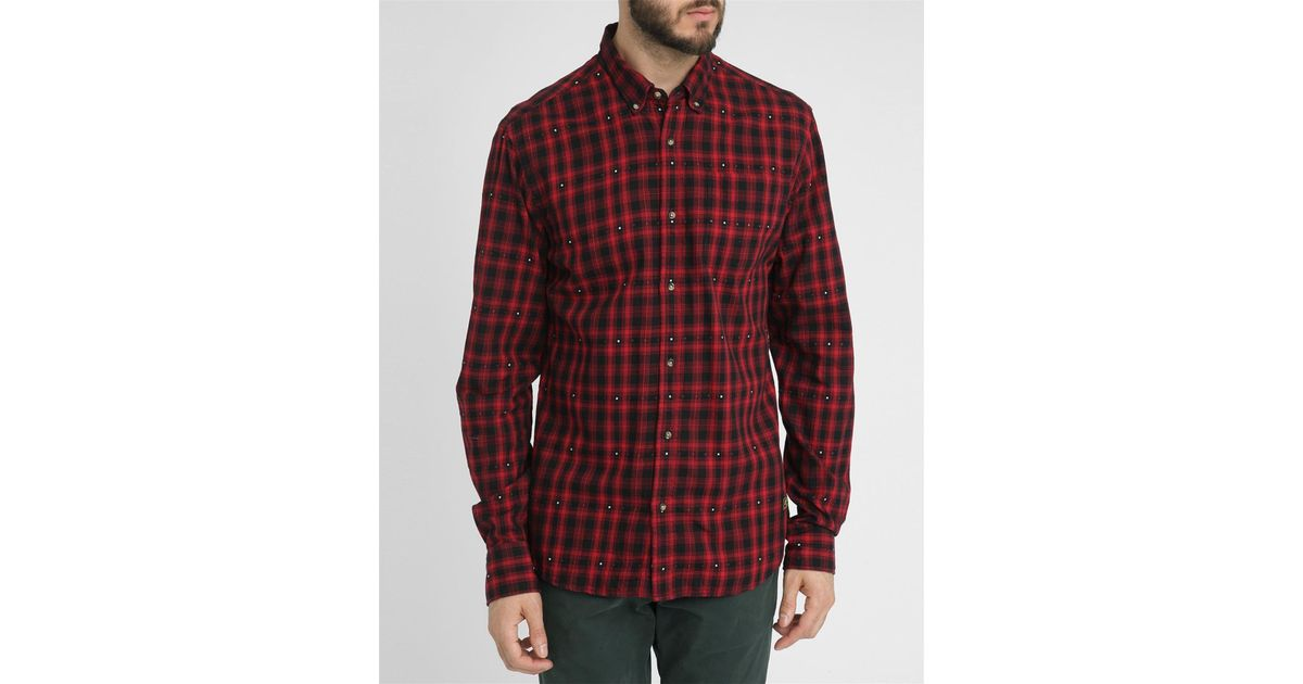 Scotch soda red and black checked flannel shirt in white for White and black flannel shirt womens