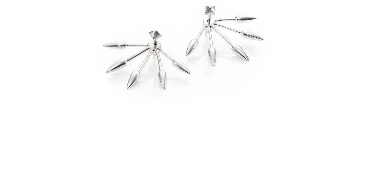 sterling silver five spike ear jacket stud