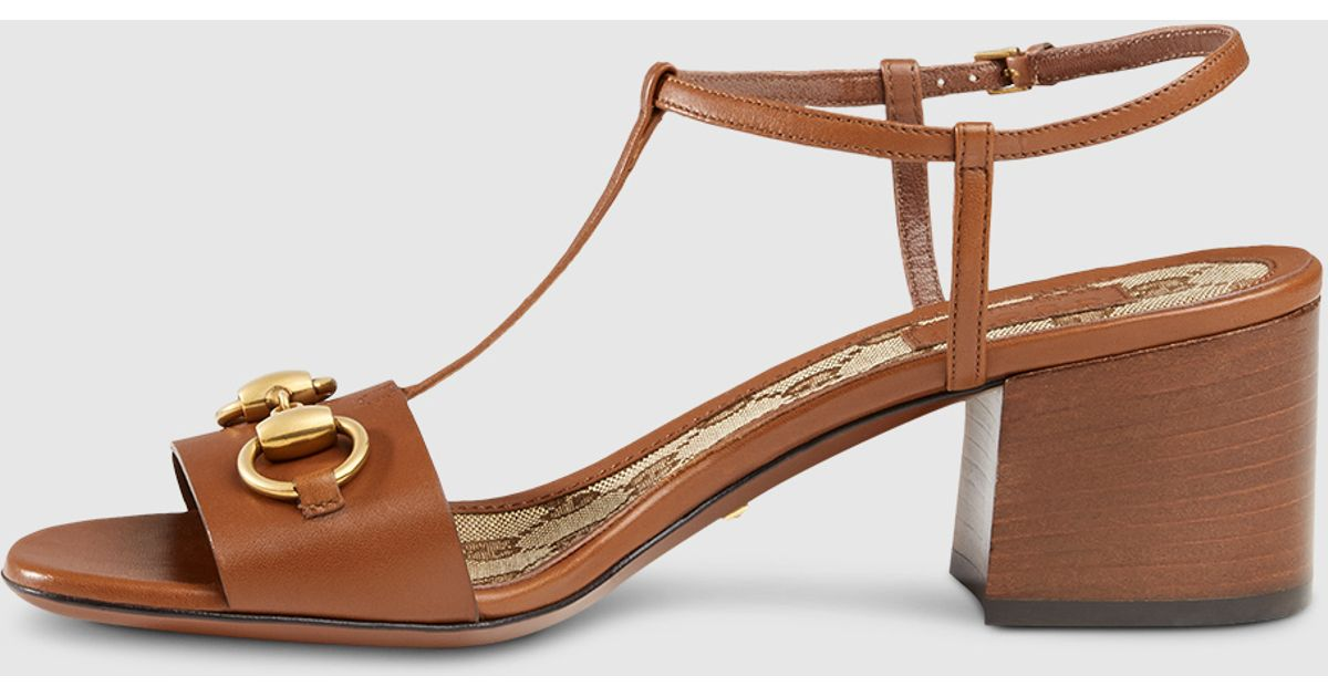bb27a0909a1 Lyst - Gucci Leather T-strap Mid-heel Sandal in Brown