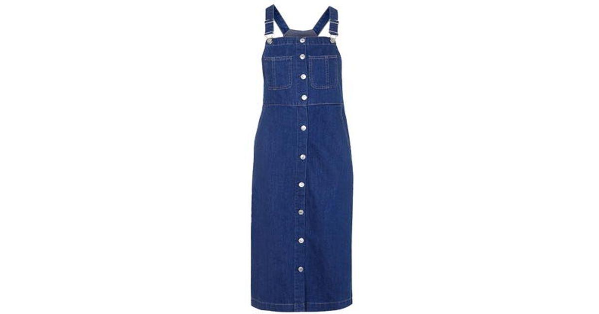 abcc361d3a7 TOPSHOP Moto Vintage Wash Midi Pinafore Dress in Blue - Lyst