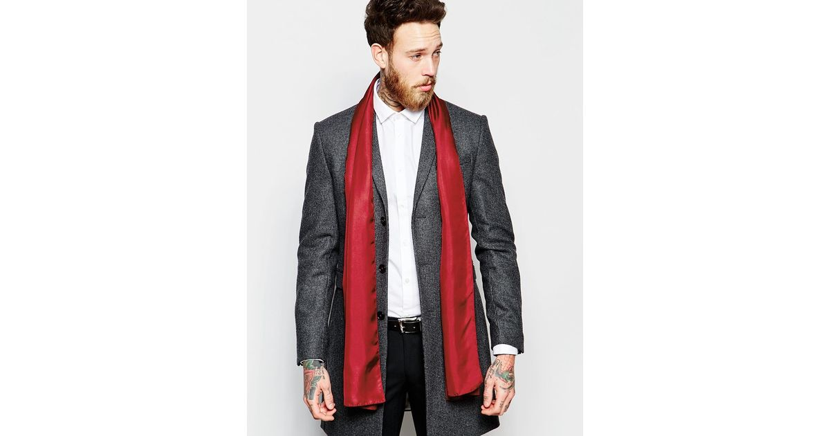 Noose And Monkey - Red Italian Silk Dress Scarf for Men - Lyst