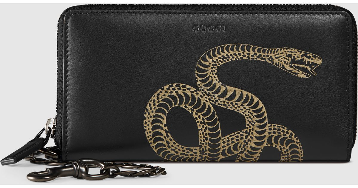 9188e89ab957 Gucci Snake Leather Chain Wallet for Men - Lyst