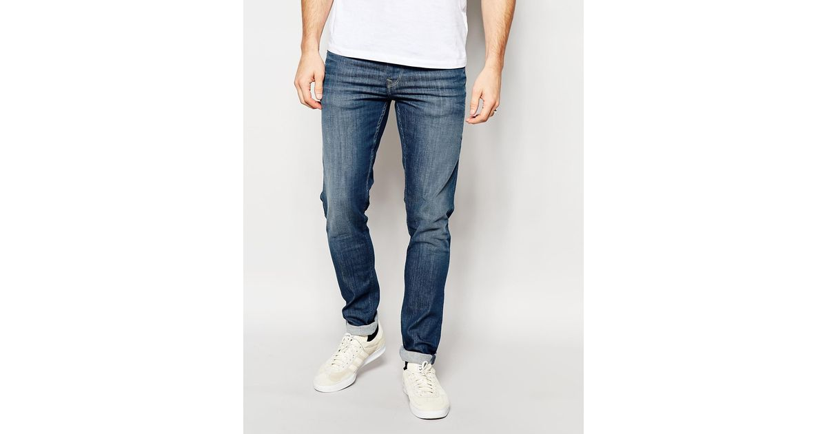 5e6accf50a2d7 Pepe Jeans Powerflex Finsbury Superstretch Skinny Fit Big Twill Mid Blue in  Blue for Men - Lyst