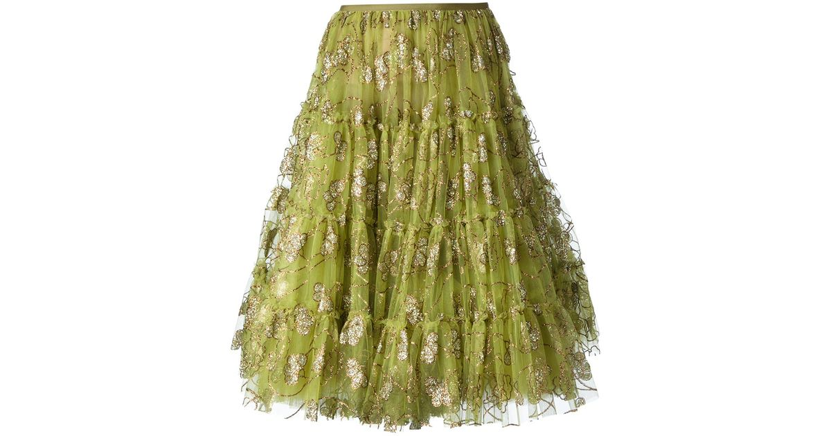 ca1aa0e70b Lanvin Embellished Tulle Skirt in Green - Lyst