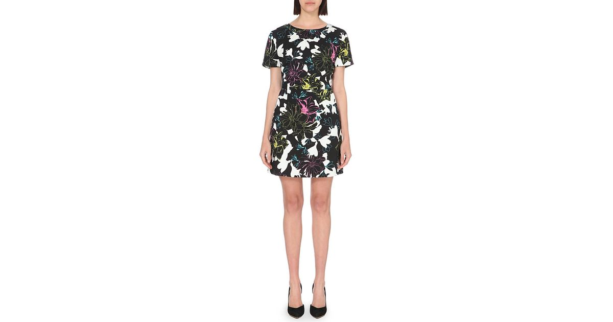 060f83b2fb2a07 French Connection Botanical Stretch-jersey Dress in Black - Lyst