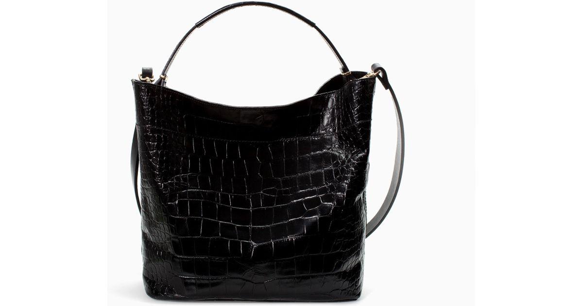 Zara Soft Croc Leather Bucket Bag In Black Lyst