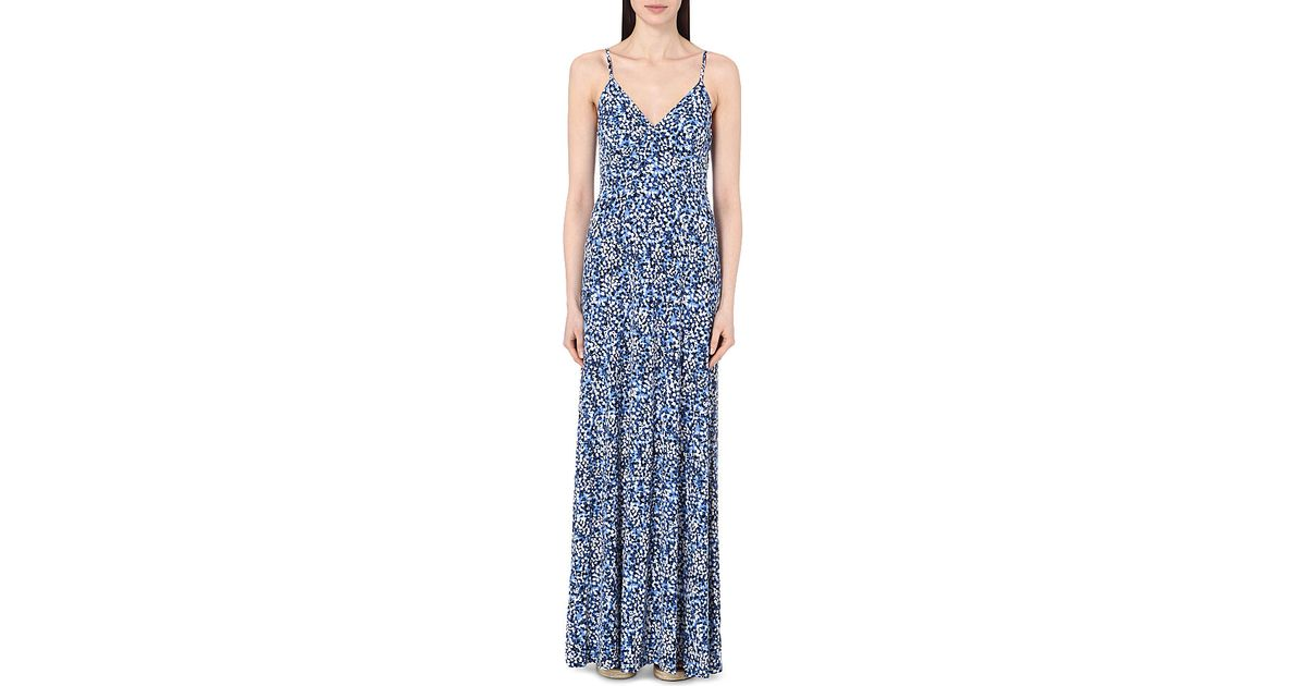Lyst Michael Michael Kors Floral Print Matte Jersey Maxi Dress In Blue