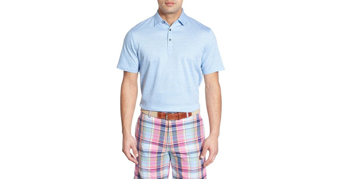 Peter millar solid pique linen cotton polo in blue for for Peter millar polo shirts