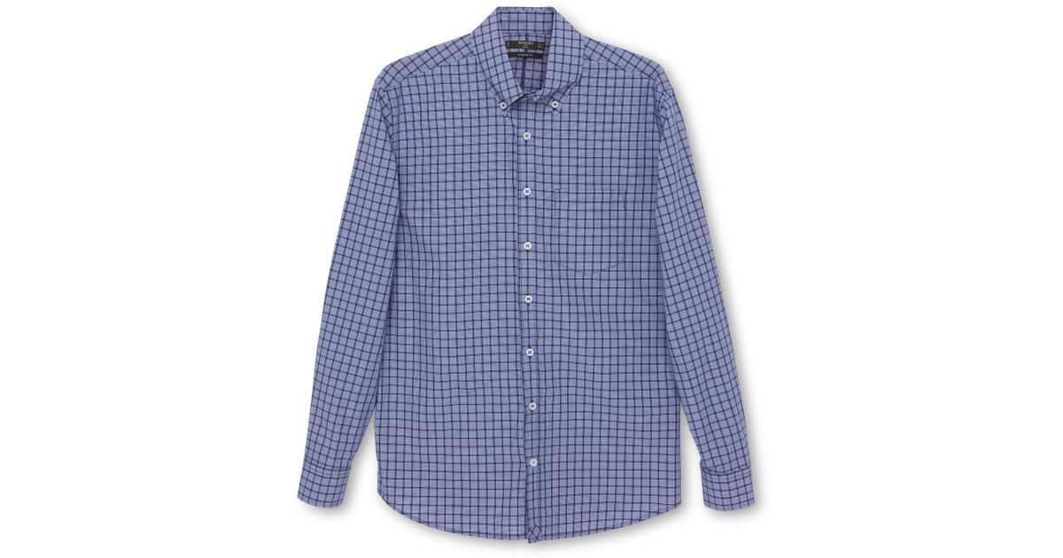 Mango gingham classic fit long sleeve button down shirt in for Blue gingham button down shirt