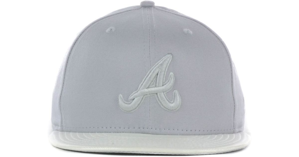 outlet store b0c85 6237b clearance lyst ktz atlanta braves holo fitted 59fifty cap in gray for men  9098c 6d52c