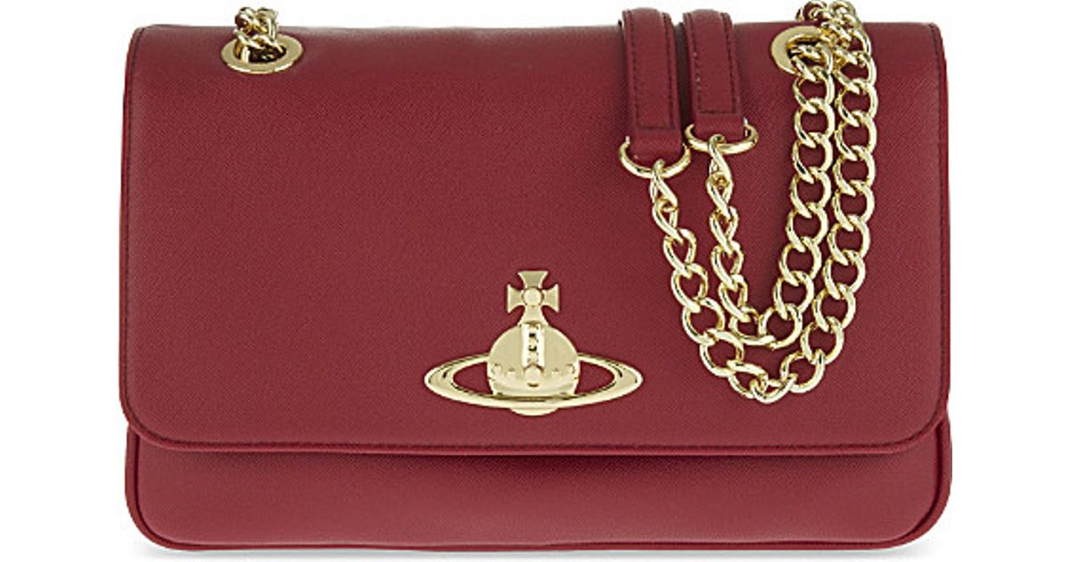 8994eb2123f Vivienne Westwood Divina Double Chain Saffiano Shoulder Bag in Red - Lyst