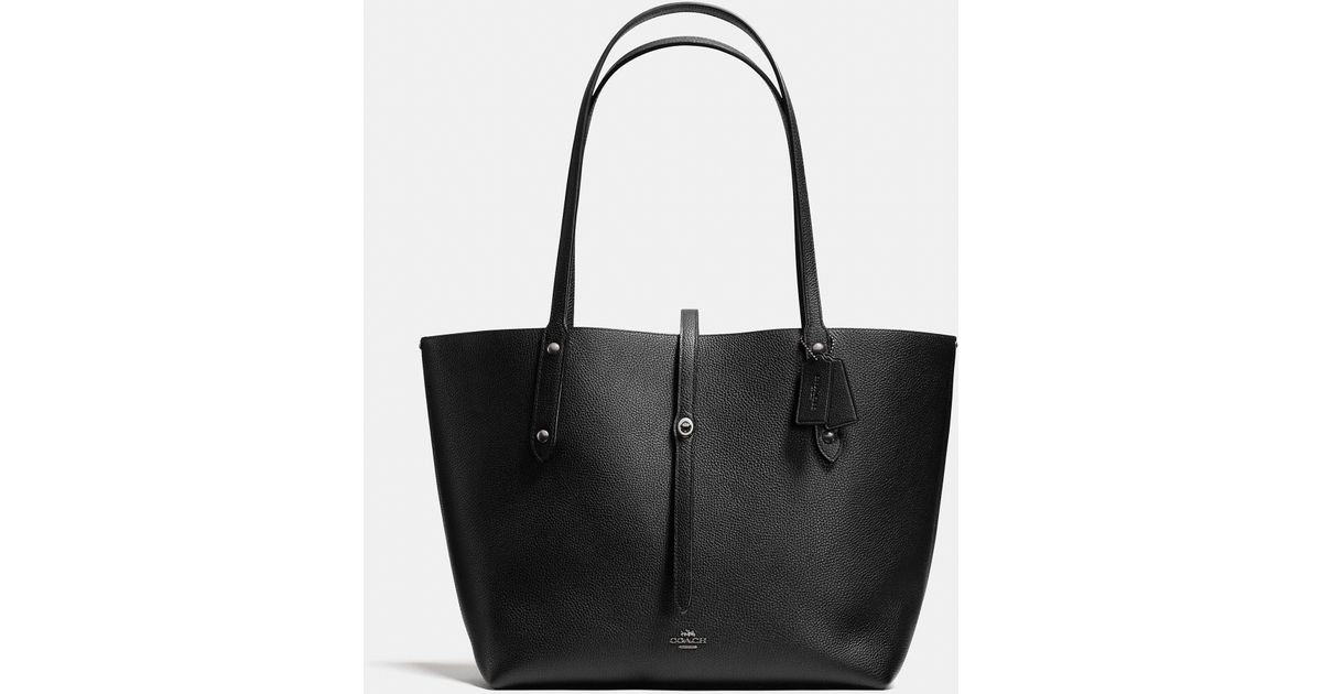17914c31349a Lyst - COACH Market Tote With Wild Beast Print Lining in Black
