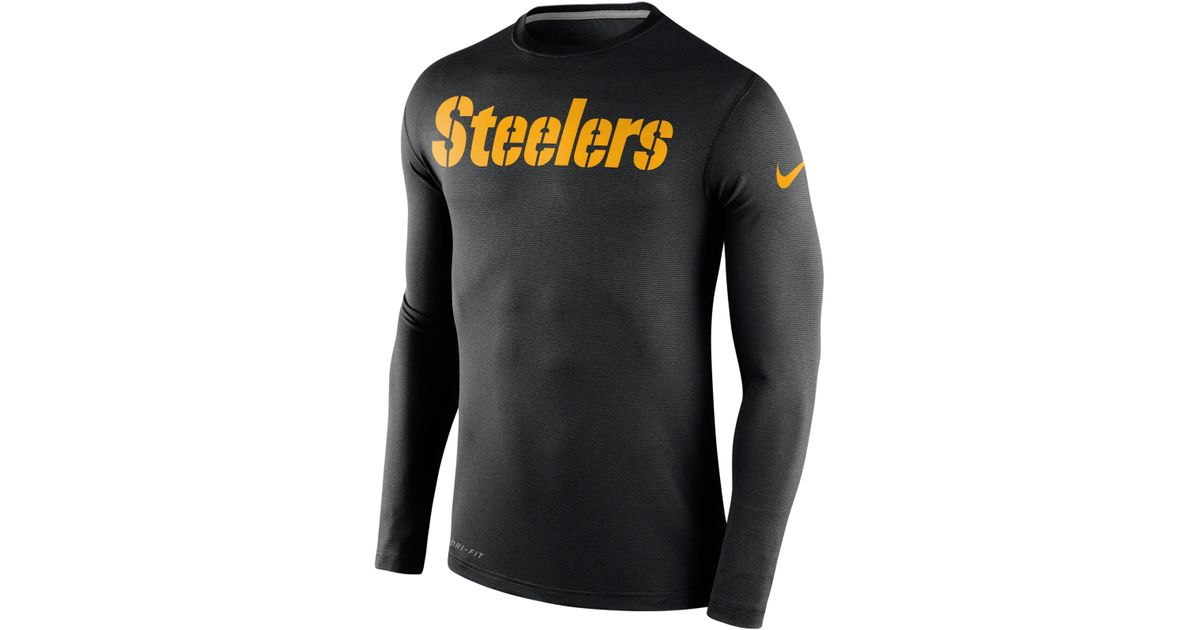 daa88e7bdb9 Nike Men s Long-sleeve Pittsburgh Steelers Dri-fit Touch T-shirt in Black  for Men - Lyst