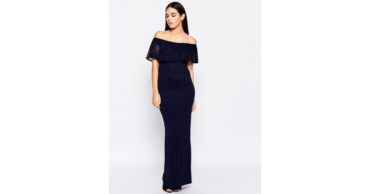 Club L Blue Essentials Maxi Dress With Bardot Lace Frill Navy Lyst