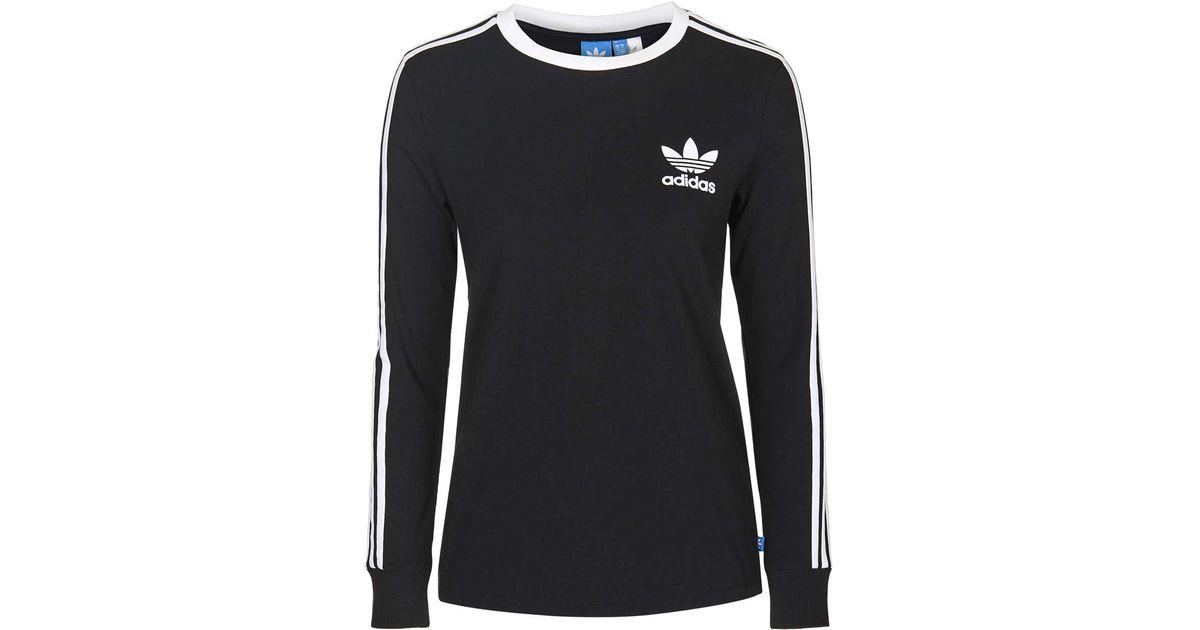 64f368975059 Lyst - TOPSHOP Three Stripe Long Sleeve Top Adidas Originals in Black