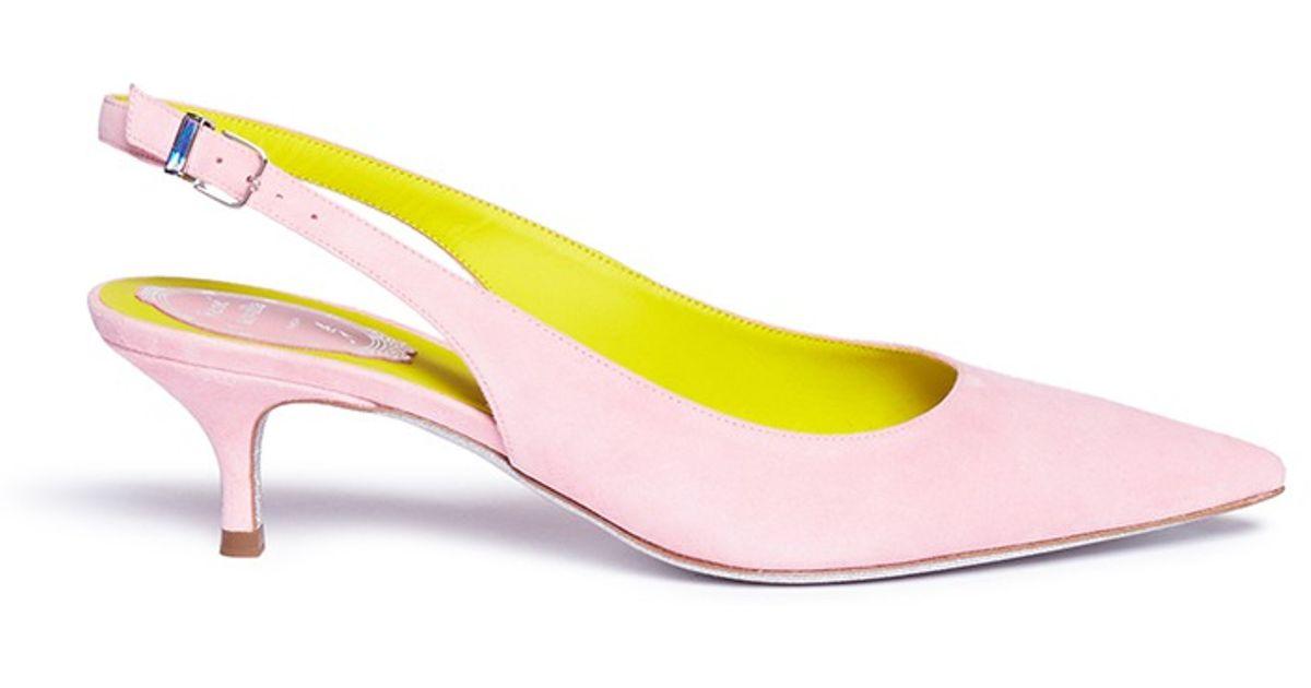 Rene caovilla Kitten Heel Slingback Suede Pumps in Pink | Lyst