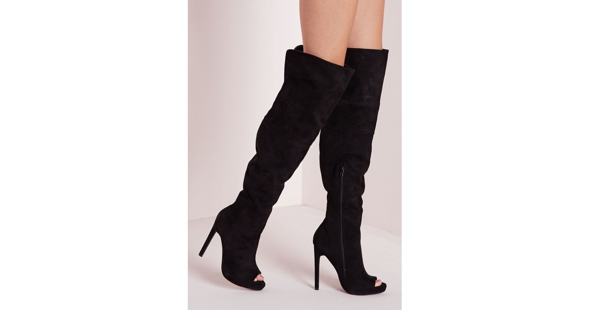 missguided thigh high peep toe boots black in black lyst