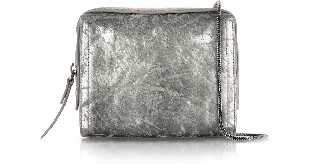 31 Phillip Lim Gunmetal Metallic Leather Soleil Mini Zip Crossbody Bag Lyst
