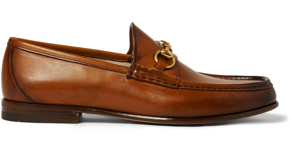 0c07c5f18 Gucci Burnished-Leather Horsebit Loafers in Brown for Men - Lyst