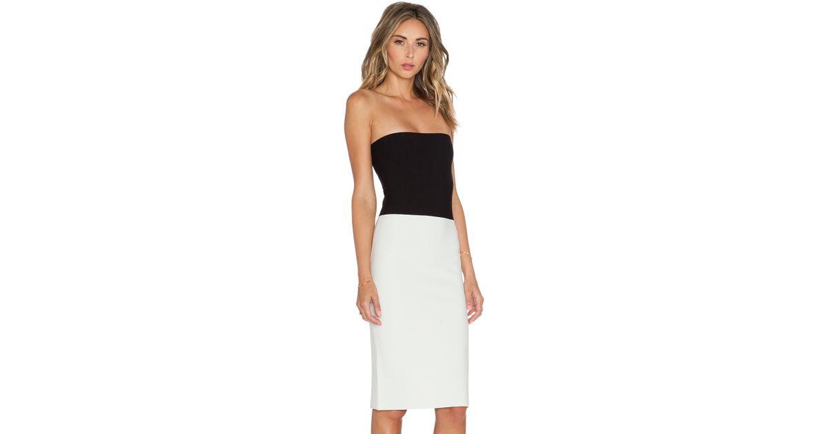 Halston Strapless Sweater Dress in Black | Lyst
