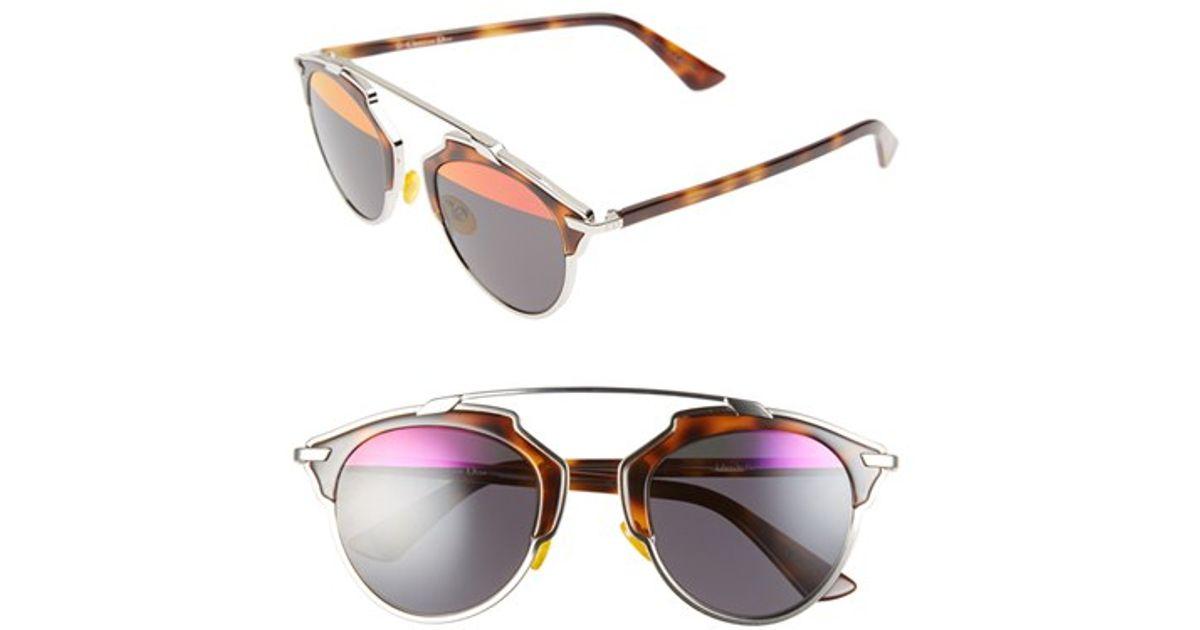 bd4dd22202 Lyst - Dior So Real 48mm Round Brow Bar Sunglasses - Palladium  Havana   Mirror in Brown