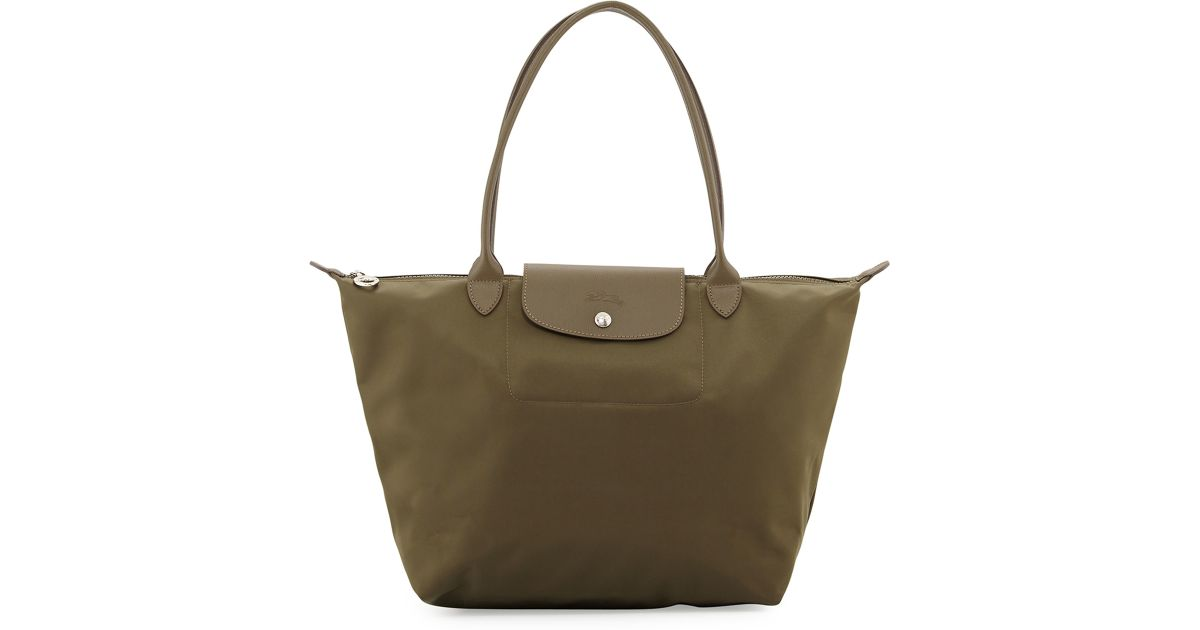 bf42165ed0b6 Lyst - Longchamp Le Pliage Neo Large Nylon Shoulder Tote Bag in Green