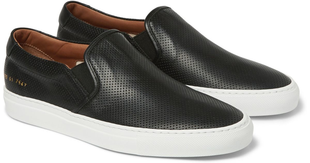 Lyst - Common Projects Perforated Leather Slip-On Sneakers in Black for Men e55c07ba8a19