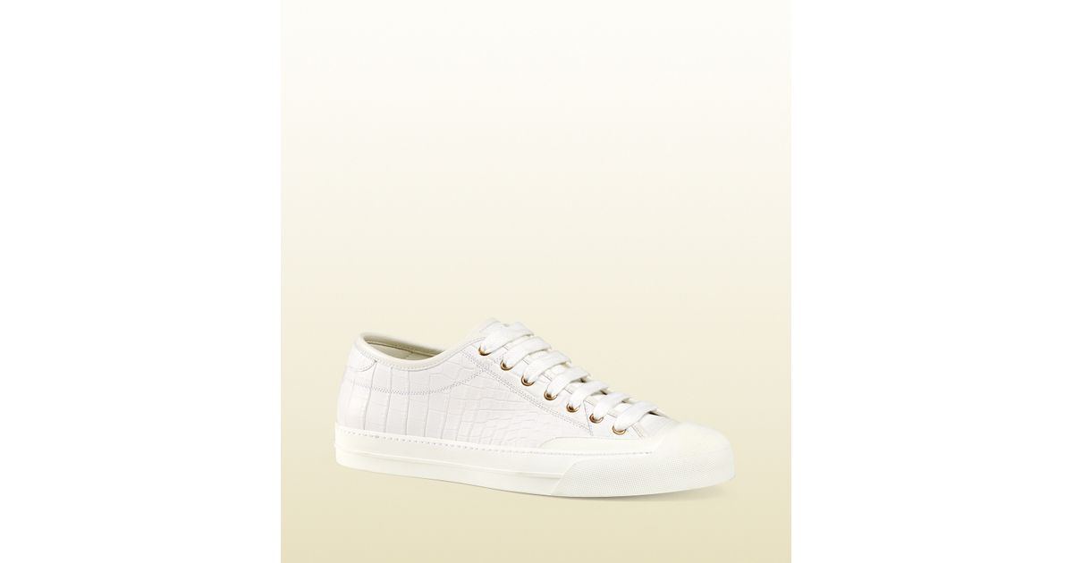 4b706e8bfcd Lyst - Gucci Crocodile Low-top Sneaker in White for Men