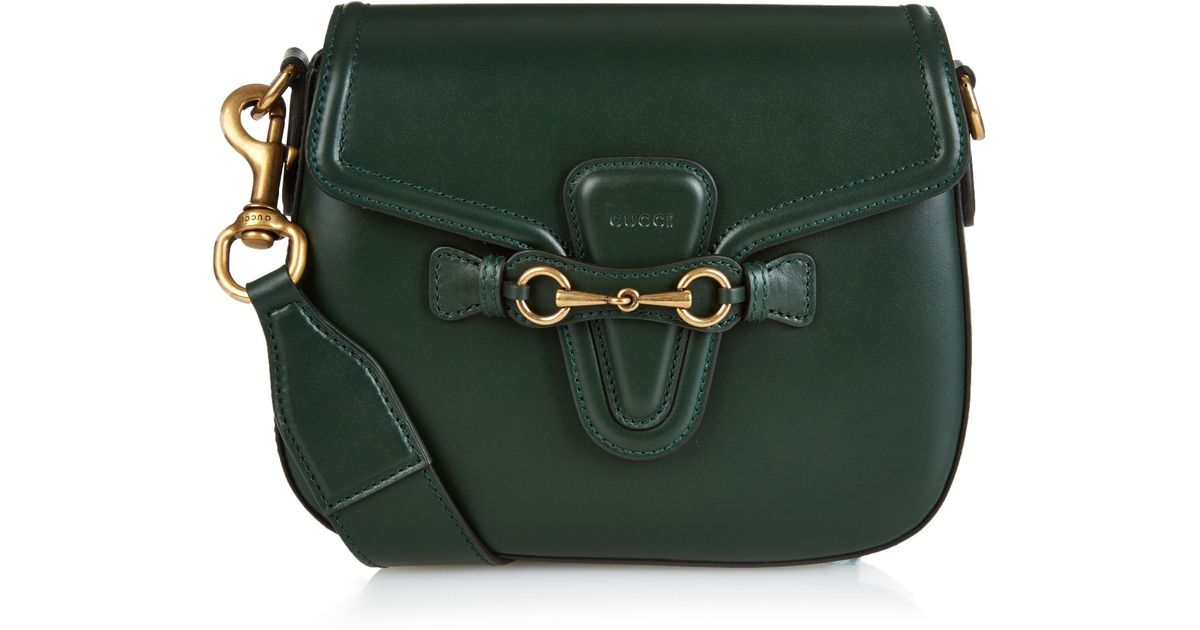 52eb6125bdbf Gucci Lady Web Medium Leather Cross-body Bag in Green - Lyst