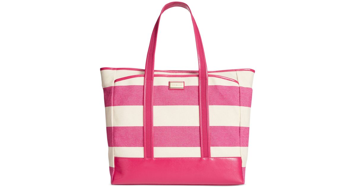 7a63a36d847 Lyst - Tommy Hilfiger Ashley Woven Rugby Stripe Tote in Red