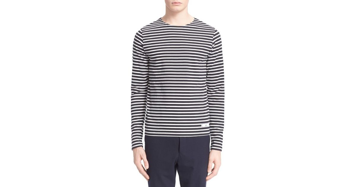 Ami stripe long sleeve t shirt in blue for men dark navy for Blue and white striped long sleeve t shirt
