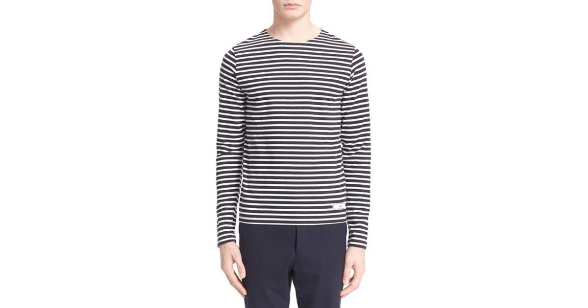 Ami stripe long sleeve t shirt in blue for men dark navy for Navy blue striped long sleeve shirt