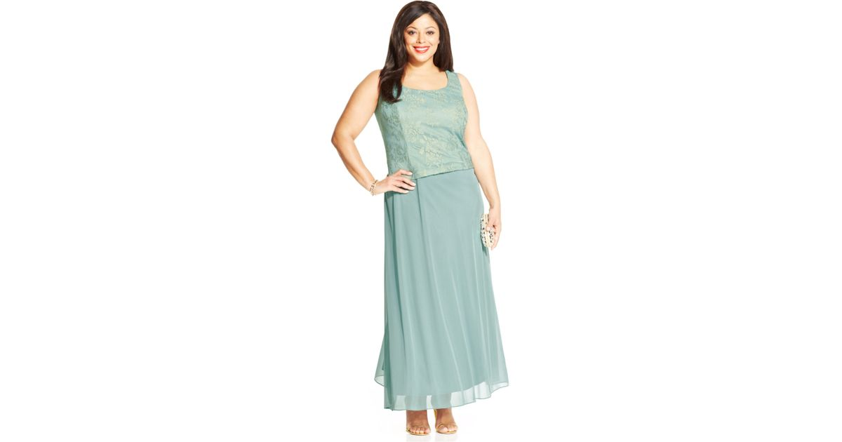 0b52257c302e9 Lyst - Patra Plus Metallic Lace Dress And Jacket in Blue