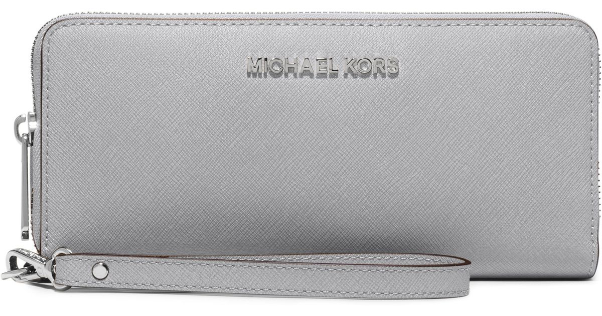 b486453a7384 MICHAEL Michael Kors Jet Set Travel Leather Wallet in Gray - Lyst