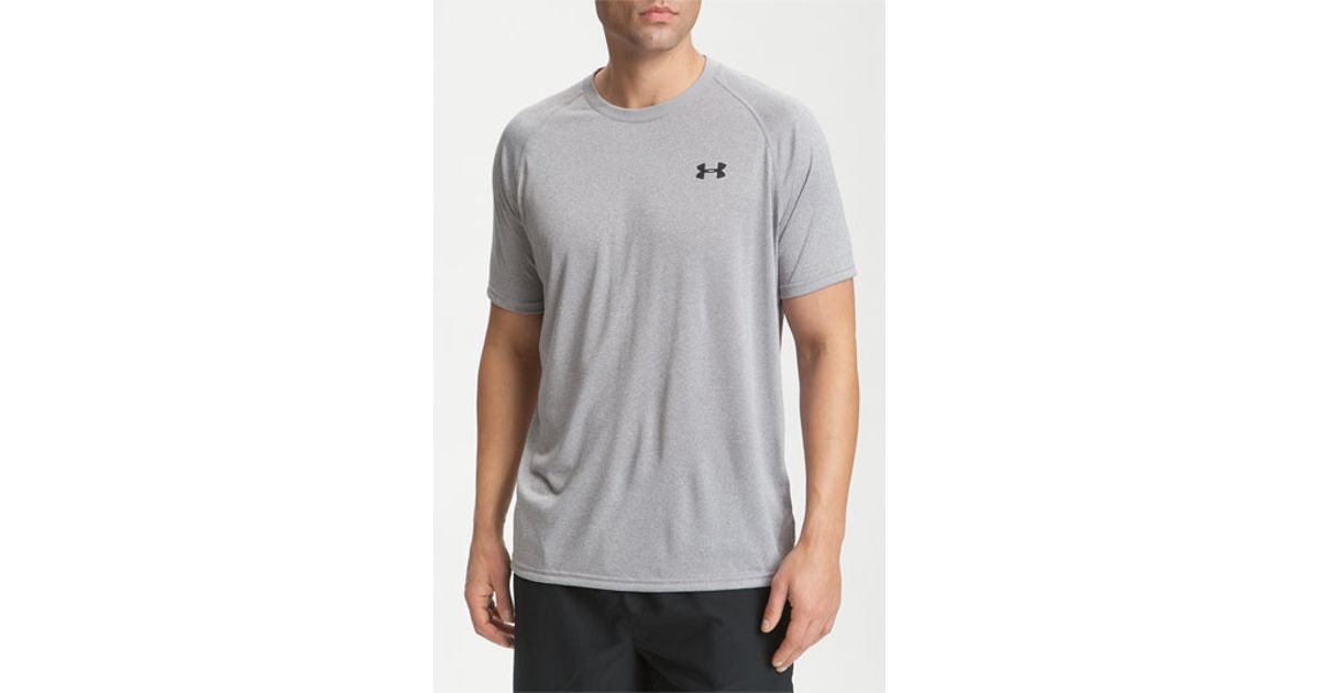 Under armour 39 ua tech 39 loose fit short sleeve t shirt in for Gray under armour shirt