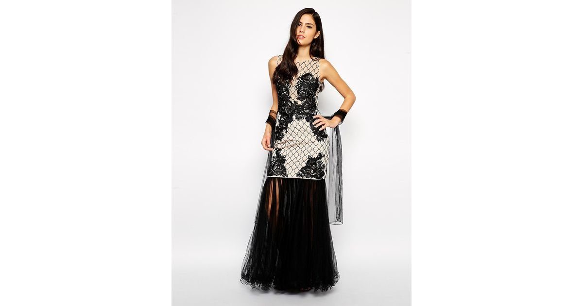 b04895b4269a2 Lyst - Forever Unique Camille Lace Detail Maxi Dress in Black